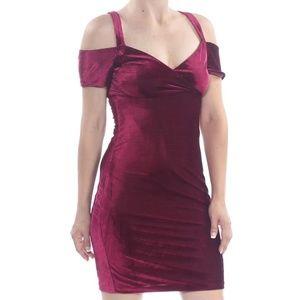 Guess Velvet V-Neck Cold-Shoulder Mini Dress